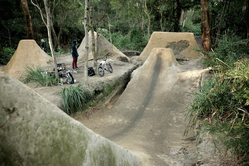 Unit BMX rider Josh Stead takes alot of pride in his trails and the results are obvious. Photo Raine Turnbull