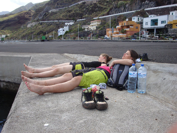 getting a little bit of sleep after a long day shooting and waiting for the next ferry boat