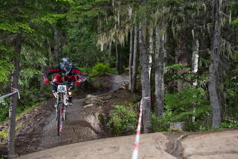 Miranda Miller racing at the Canadian Open DH