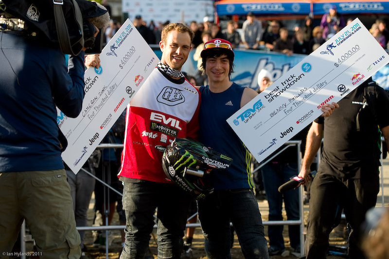 Cam Zink and Benny Phillips winners of the Teva Best Trick Contest at Crankworx.