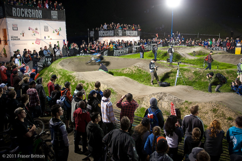 Jill Kintner was a blur on her way to her second consecutive pumptrack challenge win in front of a massive crowd.