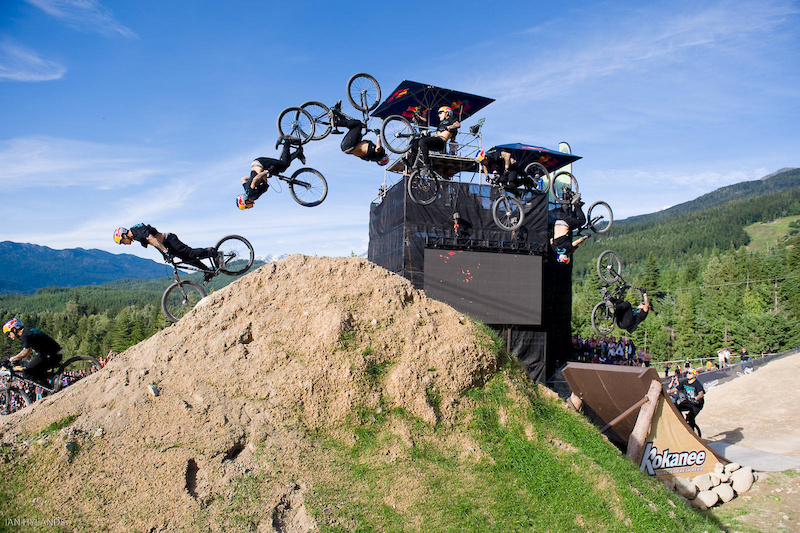 Andreu Lacondeguy jumps during the Red Bull Joyride event in Whistler BC on July 23 2011