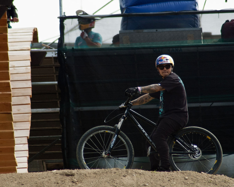 Crankworx 2011 Joyride practice before finals. Contemplating the course.