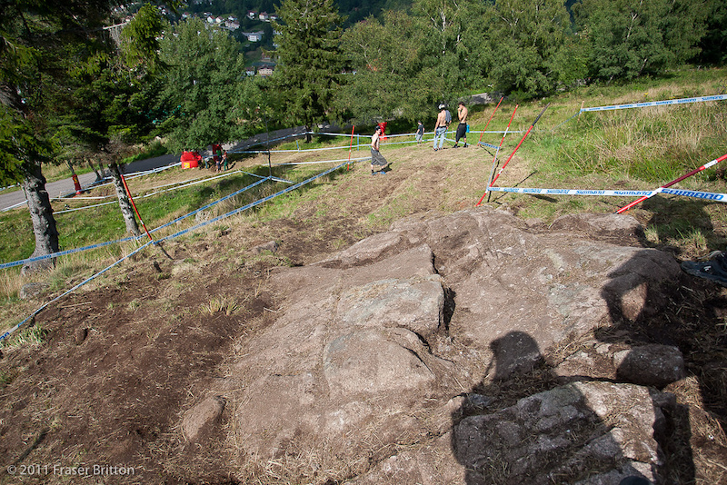 The gnarly off camber rock section is still here. There will be riders all over the joint in practice. If it is anything like 2 years ago two main lines will develop come race day.