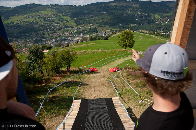 The view from the start gate is pretty sweet here in La Bresse. The town and pit is directly below the ramp.