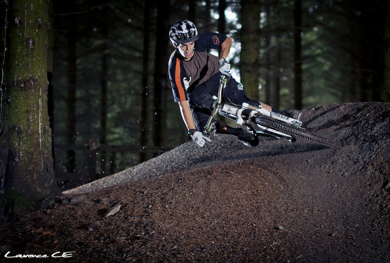 Another angle of Donny getting low on the newly acclaimed Donny Corner on the pump track at Oneplanet Adventure Llandegla - Laurence CE - www.laurence-ce.com