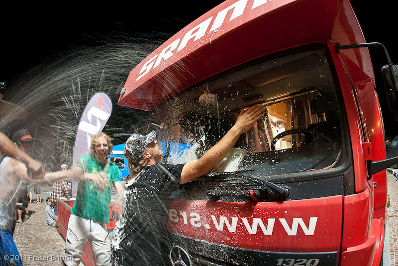 Fluffy and the Mercedes get the now traditional SRAM Salute orchestrated by Cancellier. A dozen cans of beer. Shaken not stirred.