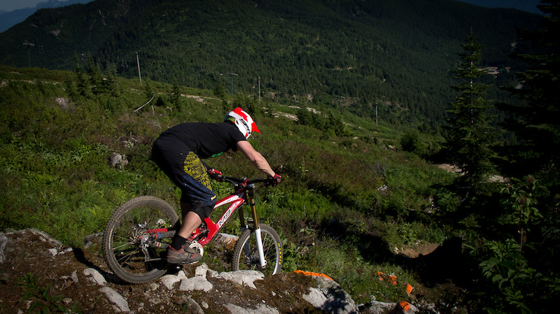 Adam Mantle doing one of the stunts on the Hemlock DH Track