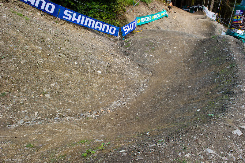 The four cross track construction began during a wet July here in Champery making construction fairly easy for Ben Walker the track s designer.