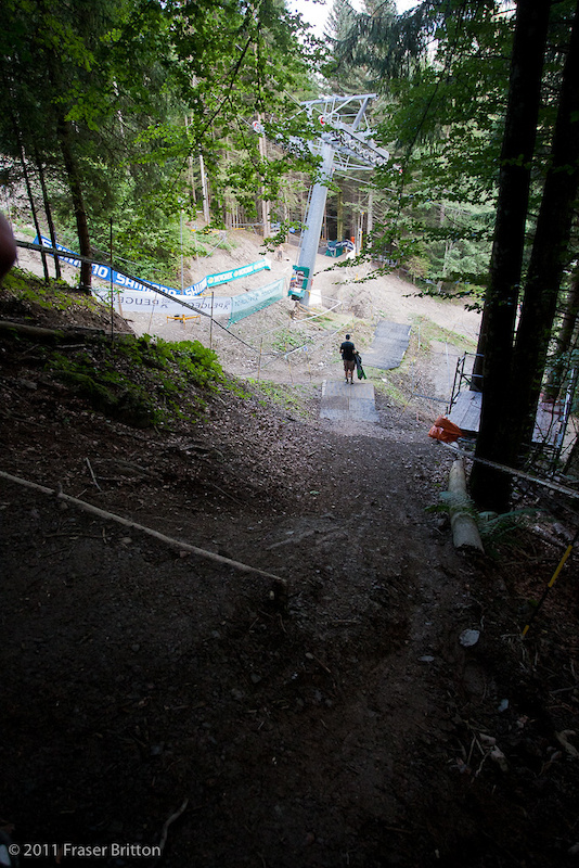 This is the view that everyone wil be waiting for as they make their way down this course. You fly out of the last woods section and 3 booters await you. If it s wet these WILL get interesting again.