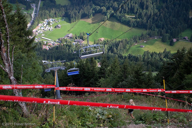 This is mid track. Those are the pits WAY down below. Steep doesn t even begin to describe this track.