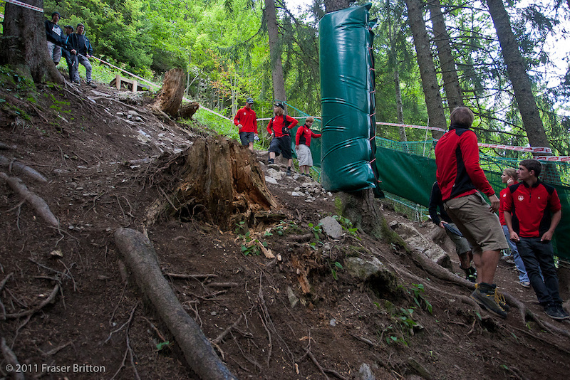 This is one of the only gnarly root sections on the trsack. It s steep rocky and technical. Last year this section became a mission in the wet. It s supposed to start to rain on Thursday here in Champery.