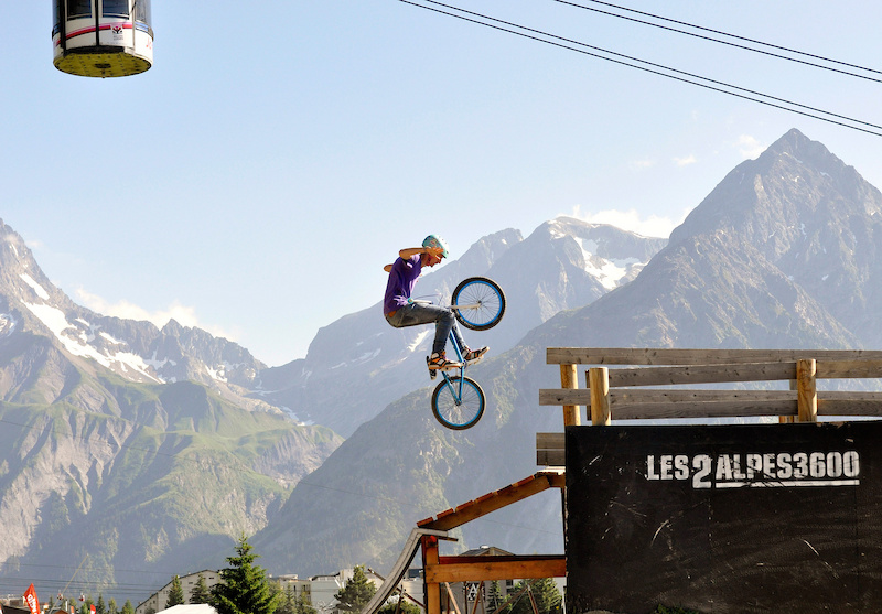 Here local rider and professional freestyle skier Steven pulls some moves in the Bike Park.