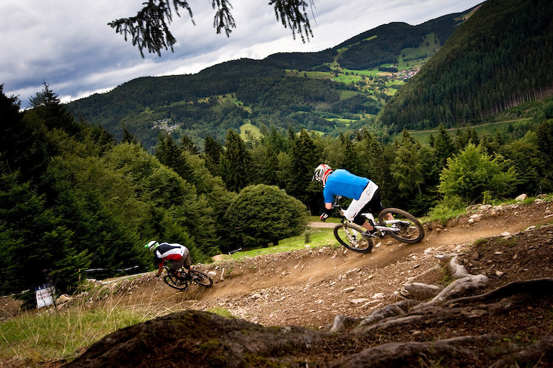 With an infamous downhill course on the iXS circuit Todtnau lived up to its reputation Here WorldBikeParks.com riders Dan Smith followed by David Scorer race down the downhill course amidst stunning scenery.
