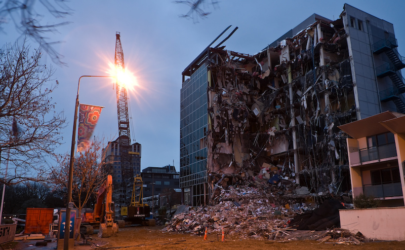 Damage after the Christchurch earthquake photo by Ivan Woods.
