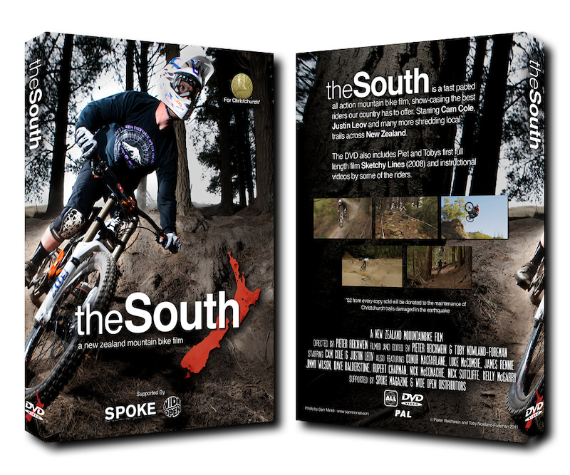 """The South"" New Zealand mountain bike DVD by Pieter Reichwein and Toby Nowland-Foreman. Cover photo by Sam Minnell."