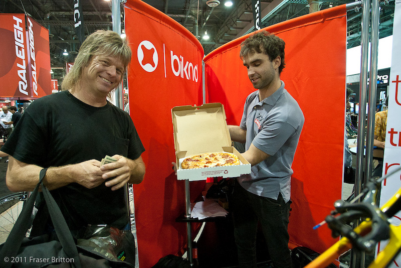 This guy cruised the show on the final day with a killer mullet and fresh pizzas selling them for 6 a pop. Genius. Simon Gauthier from Devinci cycles took the bait and we had the cheapest lunch of the entire show.