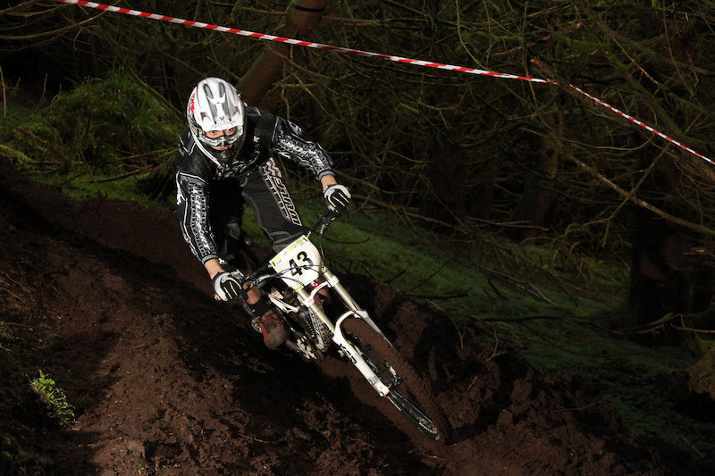 Liam hitting the loose berm with speed to follow it up with a win in Expert