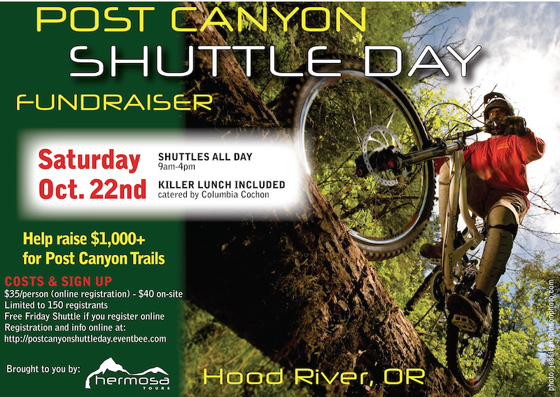35 Bucks gets you as many laps as you can do from 9-4pm. Sign up at www.postcanyonshuttleday.eventbee.com SUPPORT THE TRAILBUIDLERS BY RIDING TRAILS AND HAVING FUN