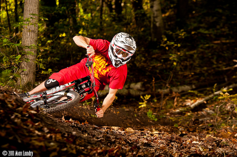 Tyler Skrinek railing the berm at Big Trees with moto inspired style.