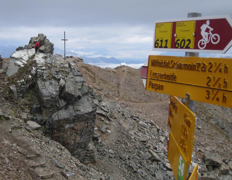 Signage at the top of the Rothorn