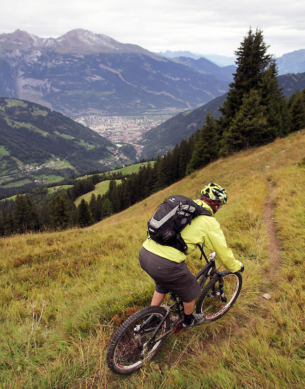 Dropping into Chur singletrack from the Joch Bergrestaurant