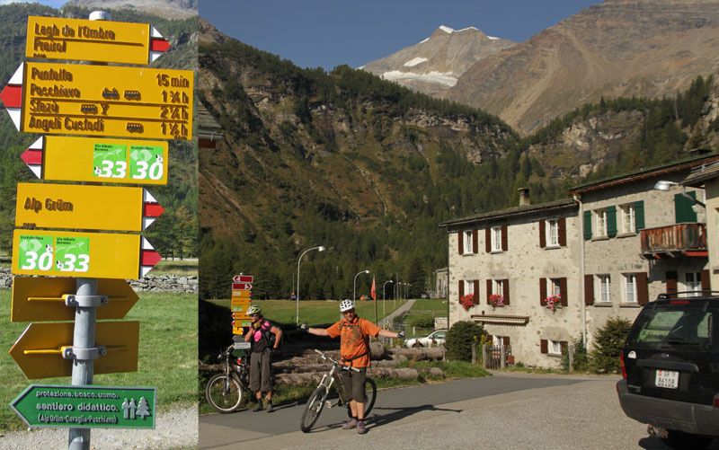 The town of Cavaglia and the remnants of the Palu Glacier on the road to Poschiavo