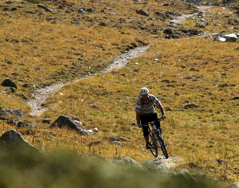 600m of mostly singletrack descending from Suvretta to the Spinas road