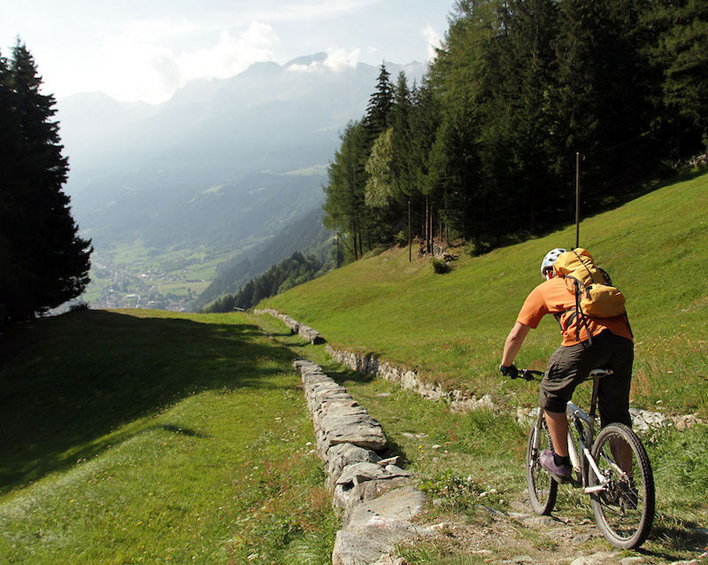 Hundred year old roads and singletrack lead to Poschiavo from Cavaglia