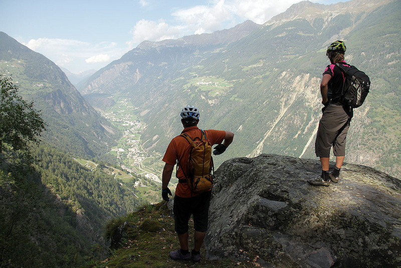 Looking down on Poschiavo in Switzerland from Italy. We re still 400m above Tirano in Italy.