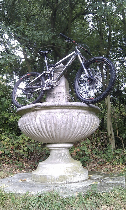 my Devinci taking a bath in a local fountain