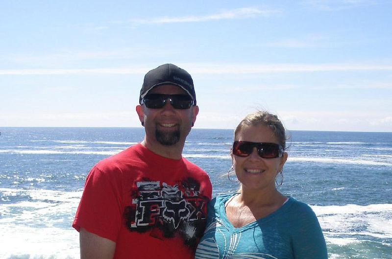 My wife and I at the beach.