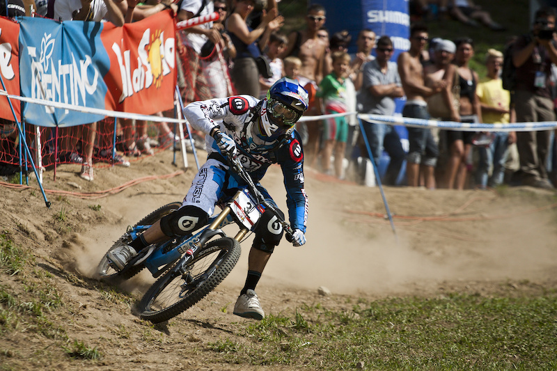 Gee Atherton during his run at the 2011 World Cup Finals in Val di Sole ITA
