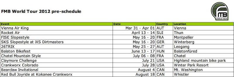 preliminary calendar