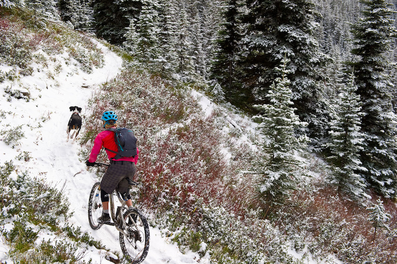 Jenny Konway milking the end of the high country in the Washington Cascades with a ride on Dalles Ridge from Corral Pass to Buck Creek on the Ranger Creek Trail in mid November with Reilly. Note the knee warmers. Jenny s also rocking the Dakine White Knuckle gloves.