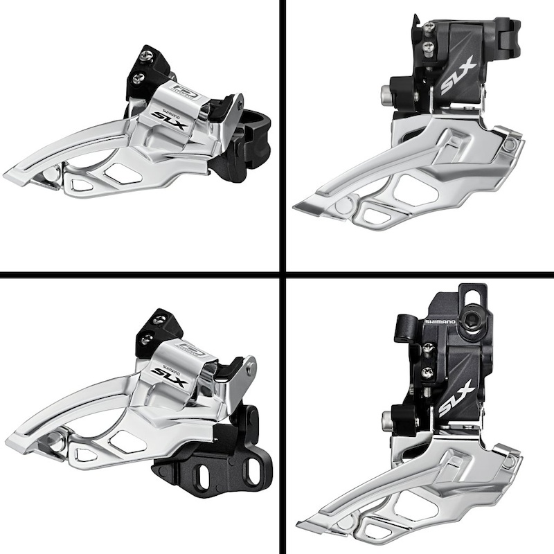 Shimano simplified its derailleur offerings with four SLX models two clamp types high and low mount and a high and low-mount version that bolt directly to the frame. The cage has been redesigned for rear suspension to shift the chain as it passes through a wider arc. The rear-facing bits of the SLX front changers have been narrowed to clear 29er tires and suspension linkage.