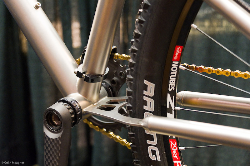 The ti chainstay is designed to flex offering 4 inches of travel.