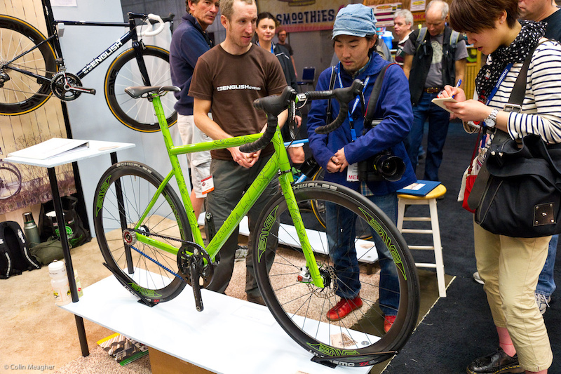 one sided English hipster fixie type bike with Enve components. Note the lack of left hand fork leg and stays