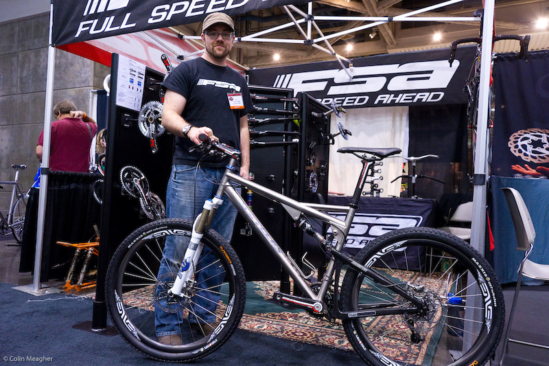 On display at the FSA booth. You ll have to contact ti cycles about the licensing of the design but it was done above board and with Santa Cruz s consent.