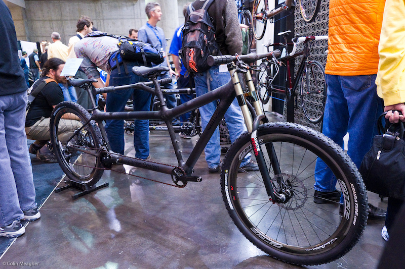 Calfee renowned for Bamboo bikes was rocking this Carbon Fiber tandem mountain bike.