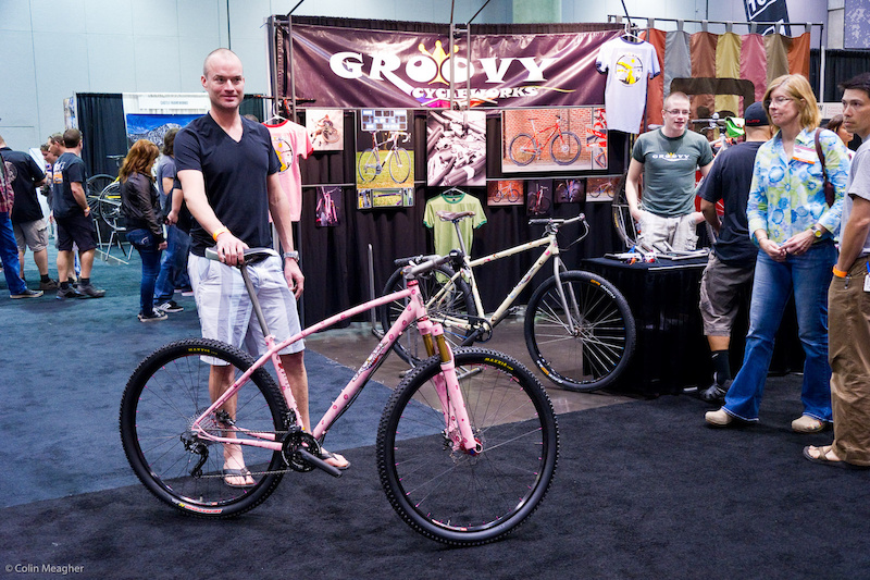 Groovy Cycle works rocking a genuine leopard print pink bike.