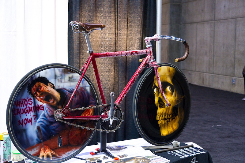 This Evil Dead tribute bike from Peacock Groove out of Minnesota was absolutely amazing. The wheel graphics were air brushed on free hand.