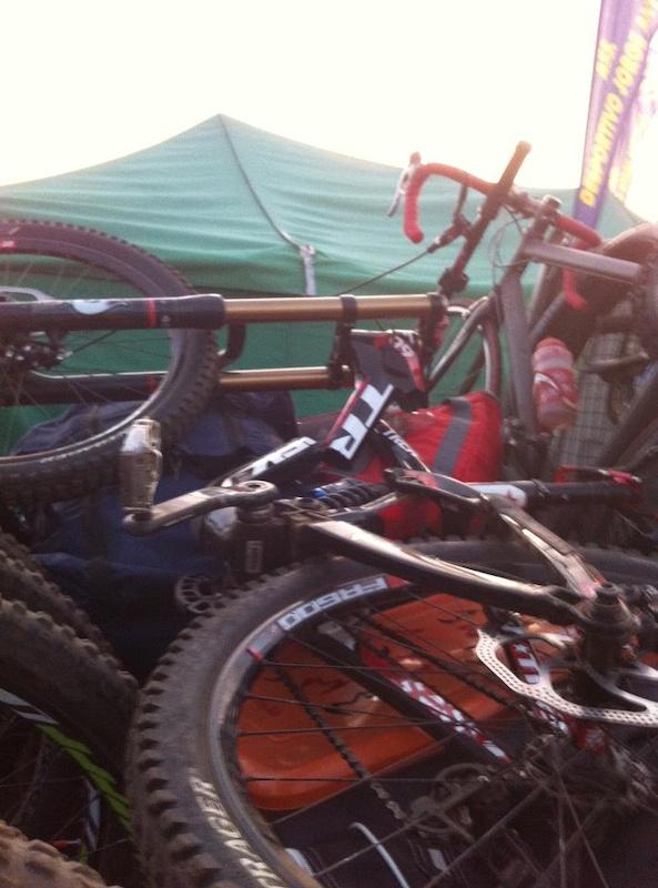 Trek Session 9.9 split in half! (Ricardo Picheleiro's bike; he walked away with minor injuries)