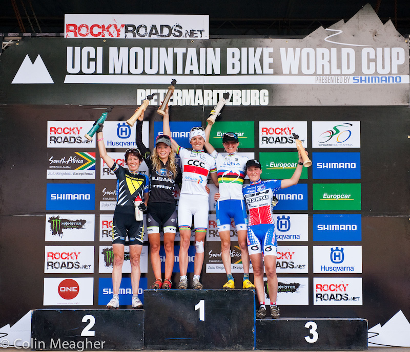Women s XC Podium at the UCI 2012 MTB World Cup at the Cascades MTB Park in Pietermaritzburg South Africa.