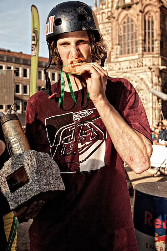Taking home the trophy after the FMB World Tour finals at the Red Bull District Ride