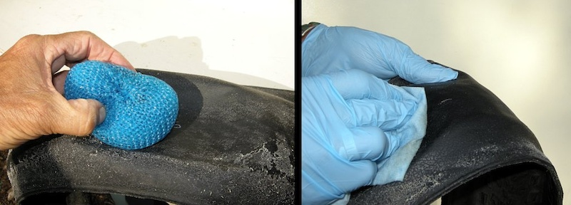 scrub the sealant from the tire and then clean it with brake cleaner fluid