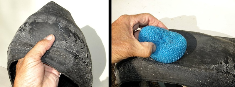Locate the puncture and scrub off any encrusted tire sealant with your moms pot cleaner.