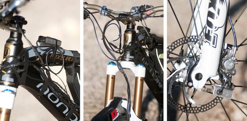 Close-ups up Fabien Barels Mondraker test bike.