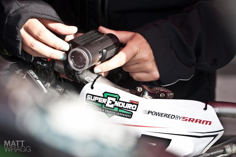Attaching the Contour cam to Al Stock s bike. Superenduro PRO1 2012 Golfo Diano Marino.