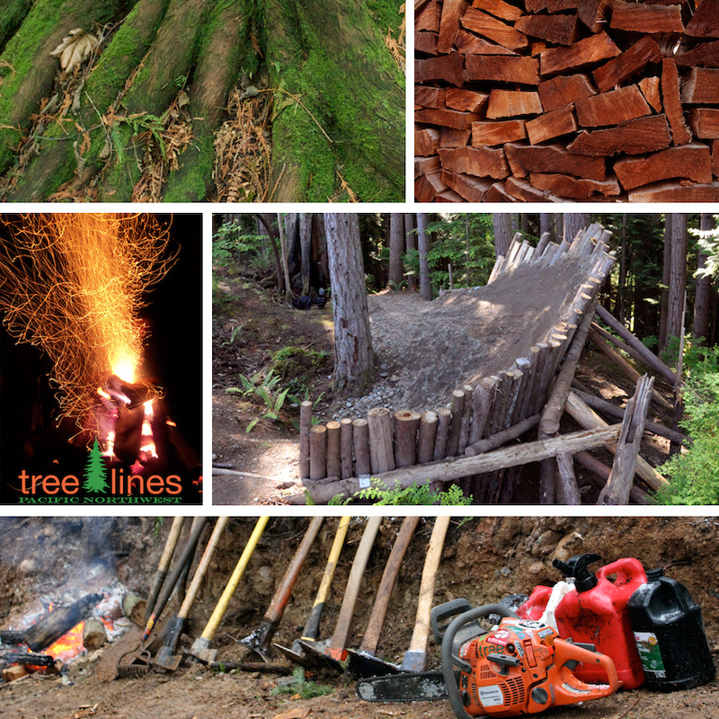 dirt wood fire and tools